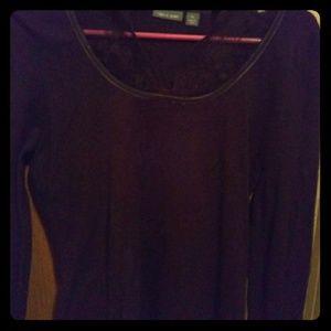 Brown LS sweater w/ lace details, size medium